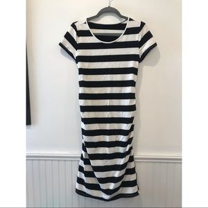 Ingrid & Isabell Midi Striped Maternity Dress